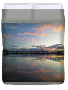 Port Of Anacortes Marina At Sunset Duvet Cover