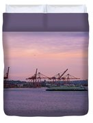 Port Of Seattle During Colorful Sunset Duvet Cover