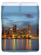 Port Of Singapore With City Skyline Duvet Cover