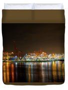 Port Of Vancouver Bc At Night Duvet Cover