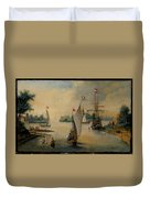 Port Scene With Sailing Ships Duvet Cover