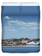 port with ferry boats Corfu Greece Duvet Cover