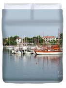 Port With Sailboat And Fishing Boat Duvet Cover