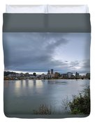 Portland City Downtown Cityscape During Evening Duvet Cover