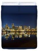 Portland City Skyline Reflection On Willamette River Duvet Cover