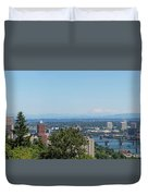 Portland Cityscape And Bridges On A Clear Blue Day Duvet Cover