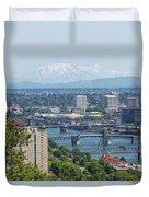Portland Cityscape With Mount Saint Helens View Duvet Cover