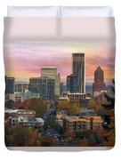 Portland Downtown Cityscape During Sunrise In Fall Duvet Cover