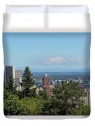 Portland Downtown Cityscape With Mount Saint Helens View Duvet Cover