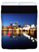 Portland Downtown Skyline Blue Hour Blurred Defocused Bokeh Duvet Cover
