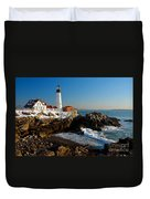 Portland Head Light - Lighthouse Seascape Landscape Rocky Coast Maine Duvet Cover by Jon Holiday