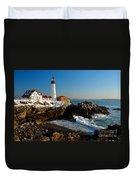 Portland Head Light - Lighthouse Seascape Landscape Rocky Coast Maine Duvet Cover