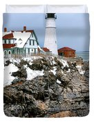 Portland Head Light In Winter Duvet Cover