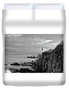 Portland Head Lighthouse - Cape Elizabeth Maine In Black And White Duvet Cover
