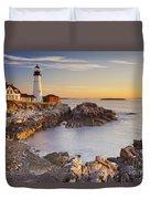 Portland Head Lighthouse In Maine Usa At Sunrise Duvet Cover