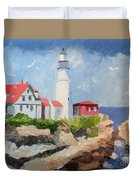 Portland Headlight By The Sea Duvet Cover