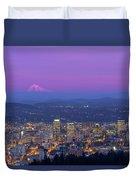 Portland Oregon Cityscape At Dusk Duvet Cover