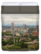 Portland Oregon Downtown Cityscape By Freeway Duvet Cover