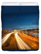 Portland Oregon Interstate Freeway Light Trails Duvet Cover