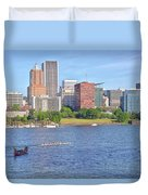 Portland Oregon Skyline And Rowing Boats. Duvet Cover