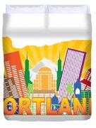 Portland Oregon Skyline In State Map Duvet Cover