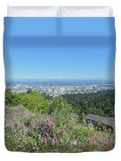 Portland Skyline With Mount Hood Duvet Cover