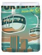 Portland Poster - Tram Retro Travel Duvet Cover