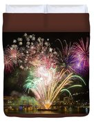 Portland Waterfront 4th Of July Fireworks Duvet Cover