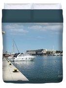 Porto Carras Harbor With Yacht And Resort Duvet Cover