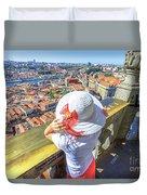 Porto Skyline Woman Duvet Cover