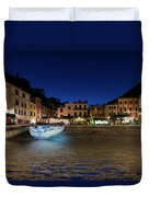 Portofino Bay By Night IIi- Piazzetta Di Portofino By Night Duvet Cover