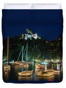 Portofino Bay By Night Iv - Castello Brown Castle Duvet Cover