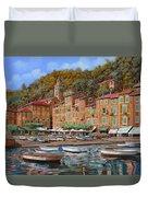 Portofino-la Piazzetta E Le Barche Duvet Cover