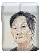 Portrait Of A Chinese Woman With A Mole On Her Chin Duvet Cover