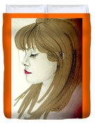 Portrait Of A Lovely Young Woman Duvet Cover