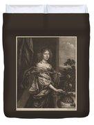 Portrait Of A Lady Beside A Rose Bush Duvet Cover