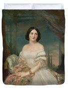 Portrait Of A Lady Sitting Under A Pergola Duvet Cover