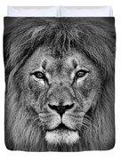 Portrait Of A Male Lion Black And White Version Duvet Cover