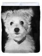 Portrait Of A Puppy In Black And White Duvet Cover