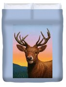 Portrait Of A Red Deer Duvet Cover by James W Johnson