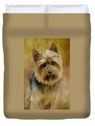 Portrait Of A Silky Terrier Duvet Cover by Stephanie Calhoun