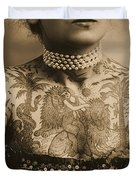 Portrait Of A Tattooed Woman Duvet Cover