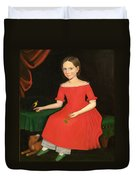 Portrait Of A Winsome Young Girl In Red With Green Slippers Dog And Bird Duvet Cover