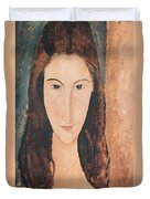 Portrait Of A Young Girl Duvet Cover by Amedeo Modigliani