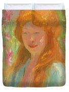 Portrait Of A Young Women In Garden 1912 Duvet Cover