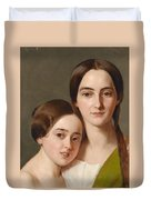 Portrait Of Alexandrine Pazzani And Her Cousin Caroline Von Saar According To Family Tradition Duvet Cover