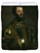 Portrait Of Alfonso D'avalon -  Marquis Of Vasto - In Armor With A Page Duvet Cover