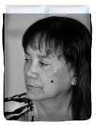Portrait Of An Attractive Filipina Woman With A Mole On Her Cheek Duvet Cover