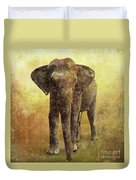 Portrait Of An Elephant Digital Painting With Detailed Texture Duvet Cover