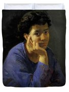 Portrait Of An Unknown Woman In A Blue Blouse Duvet Cover